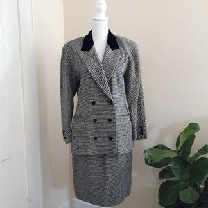 Vintage 80's Escada 100% Wool Check Skirt Suit Set